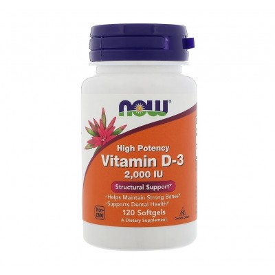 NOW Vitamin D3 2,000 IU (120 caps)