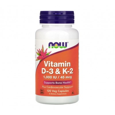 NOW  Vitamin D-3 & K-2 1,000 IU / 45 mcg (120 veg caps)