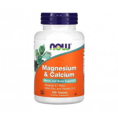 NOW Magnesium & Calcium with ZInc and D3 (100 tabs)