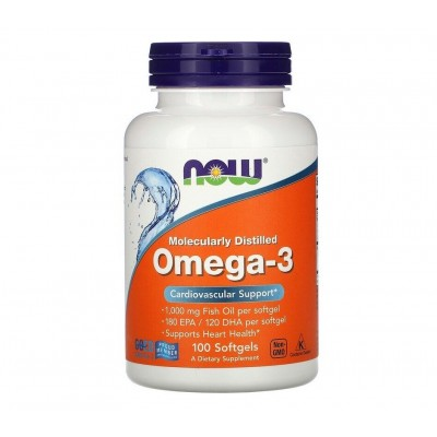 NOW Omega 3 Molecularly Distilled (100 softgels)