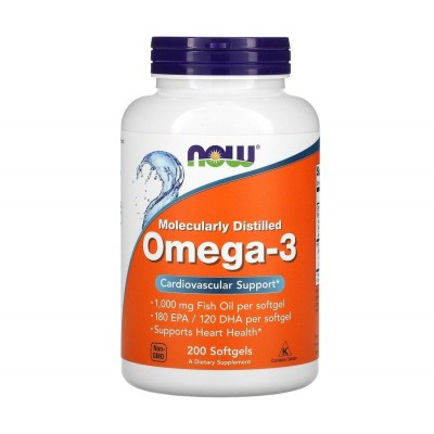 NOW Omega 3 Molecularly Distilled (200 softgels)