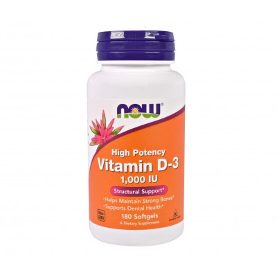 NOW Vitamin D3 1,000 IU (180 caps)