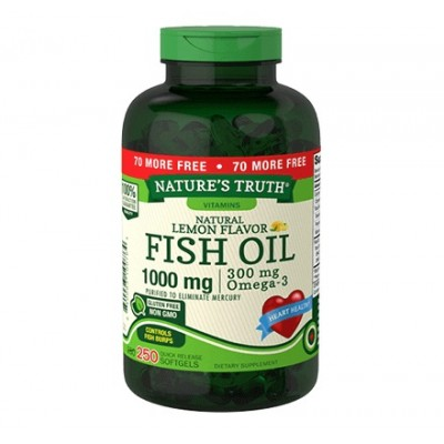 Nature's Truth Natural Lemon Flavor Fish Oil 1000 mg (250 softgels)