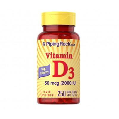 Piping Rock High Potency Vitamin D3 50 mcg / 2000 IU (250 softgels)