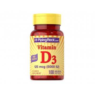 Piping Rock High Potency Vitamin D3 125 mcg / 5000 IU (100 softgels)