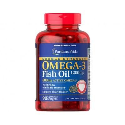 Puritan's Pride Double Strength Omega-3 Fish Oil 1200mg / 600mg Active Omega (90 caps)