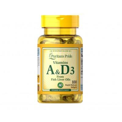 Puritan's Pride Vitamins A & D3 from Fish Liver Oil (100 caps)