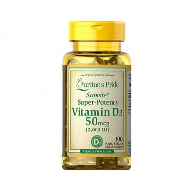 Puritan's Pride Vitamin D3 50mcg 2000IU (100 caps)