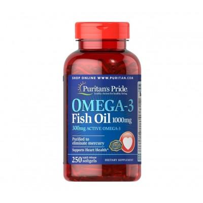 Puritan's Pride Omega-3 Fish Oil 1000mg / 300mg Active Omega (250 caps)