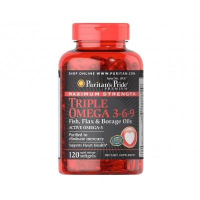 Puritan's Pride Maximum Strength Triple Omega 3-6-9 Fish, Flax & Borage Oils (120 caps)