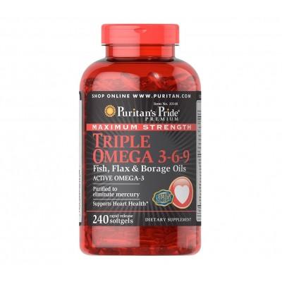 Puritan's Pride Maximum Strength Triple Omega 3-6-9 Fish, Flax & Borage Oils (240 caps)