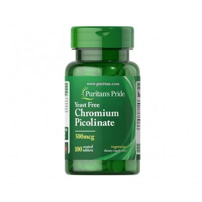 Puritan's Pride Chromium Picolinate 500 mcg Yeast Free (100 tabs)